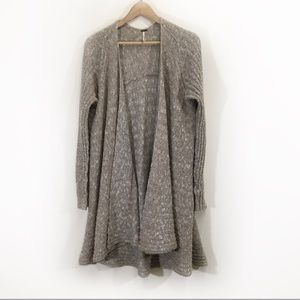 Free People Wool Open Long Knit Cardigan Beige